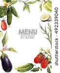 watercolor menu template  set... | Shutterstock . vector #492339040