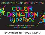 round font set. color font... | Shutterstock .eps vector #492342340