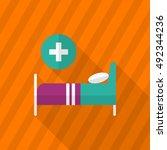 sickbed icon   vector flat long ... | Shutterstock .eps vector #492344236