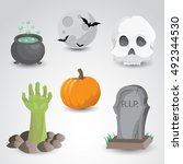 halloween icon set isolated on... | Shutterstock .eps vector #492344530