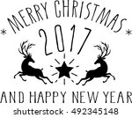 merry christmas and happy new... | Shutterstock .eps vector #492345148