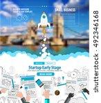 startup landing webpage or... | Shutterstock .eps vector #492346168