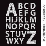 cracked latin alphabet  vector... | Shutterstock .eps vector #492350500