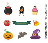 halloween objects set | Shutterstock .eps vector #492350713