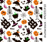halloween seamless pattern. set ... | Shutterstock .eps vector #492351910