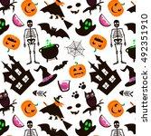 halloween seamless pattern. set ... | Shutterstock .eps vector #492351910