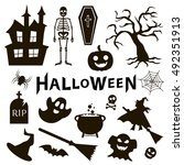 set of halloween icons on white ... | Shutterstock .eps vector #492351913
