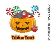 trick or treat pumpkin full of... | Shutterstock .eps vector #492352030