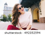 cool girl with long hairstyle... | Shutterstock . vector #492352594