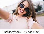 closeup selfie portrait student ... | Shutterstock . vector #492354154
