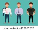 stylish young man in a suit... | Shutterstock .eps vector #492359398