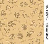 spice seamless pattern in beige ...   Shutterstock .eps vector #492361708