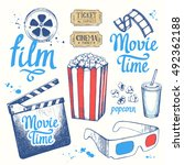 movie time vector illustration... | Shutterstock .eps vector #492362188