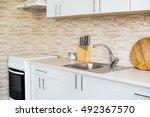 interior of new bright white... | Shutterstock . vector #492367570