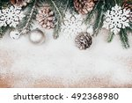 snowy christmas background with ... | Shutterstock . vector #492368980