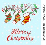 christmas background with... | Shutterstock .eps vector #492370660