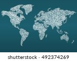 world map made with threads ... | Shutterstock .eps vector #492374269