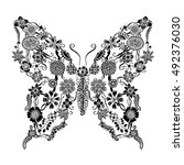 decorative ornate butterfly of... | Shutterstock .eps vector #492376030