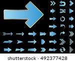 arrow vector 3d button icon set ...   Shutterstock .eps vector #492377428