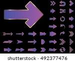arrow vector 3d button icon set ... | Shutterstock .eps vector #492377476