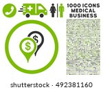 bank places icon with 1000... | Shutterstock .eps vector #492381160