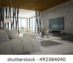 interior modern design room 3d... | Shutterstock . vector #492384040