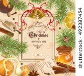 vector vintage christmas frame... | Shutterstock .eps vector #492387454