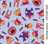 seamless pattern with funny... | Shutterstock .eps vector #492387469