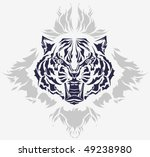 Roaring tiger head and flames isolated black silhouette - high quality detailed illustration - great for t-shirt apparel design - stock vector