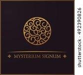 gold round crest logo....   Shutterstock .eps vector #492390826