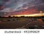 kart track. sunset | Shutterstock . vector #492390829