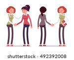 set of female characters in a... | Shutterstock .eps vector #492392008