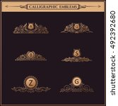 luxury logos crest monogram.... | Shutterstock .eps vector #492392680