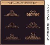 luxury logos crest monogram.... | Shutterstock .eps vector #492392710