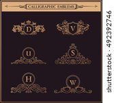 luxury crest logos monogram....   Shutterstock .eps vector #492392746