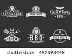 bbq logos black and white | Shutterstock .eps vector #492393448