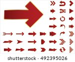 arrow vector 3d button icon set ... | Shutterstock .eps vector #492395026