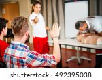 cpr class with instructors... | Shutterstock . vector #492395038