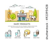 fresh natural dairy products....   Shutterstock .eps vector #492395428