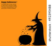 silhouette of a scary  witch... | Shutterstock .eps vector #492395488