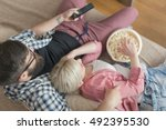 top view of a couple enjoying... | Shutterstock . vector #492395530