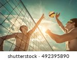 beach volleyball players in... | Shutterstock . vector #492395890