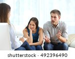 angry husband and sad wife... | Shutterstock . vector #492396490