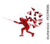 woman fencing sport vector... | Shutterstock .eps vector #492398086
