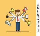 isolated multitasking...   Shutterstock .eps vector #492399796