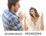 ugly and crazy woman shouting... | Shutterstock . vector #492402094