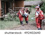 victim evacuation from disaster ... | Shutterstock . vector #492402640