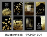 set of black and gold design... | Shutterstock .eps vector #492404809