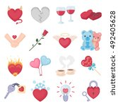 romantic set icons in cartoon...   Shutterstock .eps vector #492405628