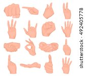 hand gestures set icons in... | Shutterstock .eps vector #492405778